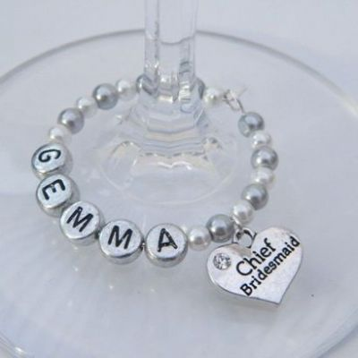 Chief Bridesmaid Personalised Wine Glass Charm - Full Bead Style